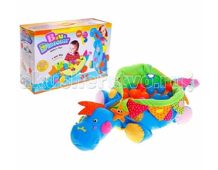 Развивающая игрушка Tinbo Toys Малыш Динозавтрик 60 шаровМалыш Динозавтрик 60 шаровРазвивающая игрушка Tinbo Toys Малыш Динозавтрик 60 шаров представляет собой большой мешок, в который помещаются 60 пластмассовых шариков. Несмотря на не очень сложный принцип исполнения, производитель сделал игрушку, с которой можно придумать множество забав.   Динозаврик может служить просто напольной подушкой, когда шарики внутри. На нем можно сидеть верхом. Можно попросить малыша побросать шарики из динозаврика, а потом собрать их обратно, но сначала одного цвета, потом другого и так далее.  По всему динозавру нашиты элементы из материалов различной фактуры: мягкие, жесткие, зеркальные, в виде небольших игрушек. Тактильные ощущения от игры с такой игрушкой помогают малышу познакомиться с окружающим миром.  Характеристики: развивающая игрушка Малыш динозавтрик + 60 шаров развивает визуальное восприятие, логику, мышление, мелкую моторику рук.<br>