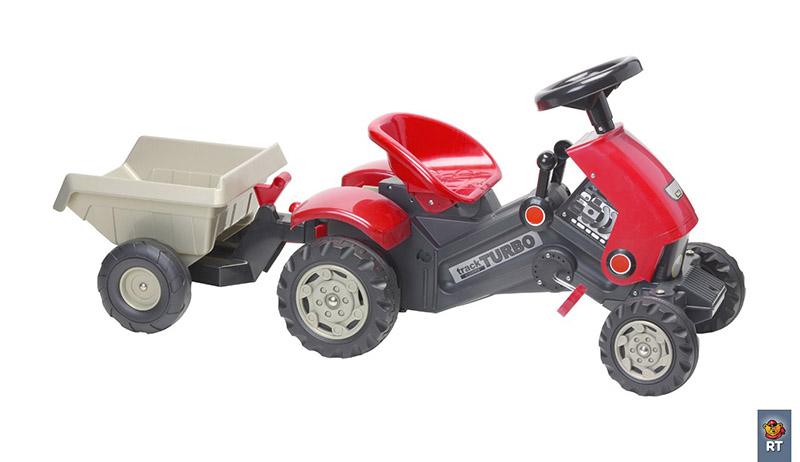 Педальные машины Coloma Трактор на педалях Turbo с прицепом