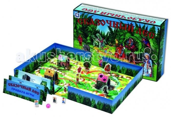 Новое поколение Настольная игра Сказочный лесНастольная игра Сказочный лесНовое поколение Настольная игра Сказочный лес - это классическая игра-ходилка, в которой игроки по очереди бросают кубик и передвигают фишки согласно выпавшей цифре.   Кроме того, есть клетки, попадая на которые, нужно передвинуть фишки на несколько шагов вперед или назад. Отличает же эту игру от других подобных игр объемное поле. На поле установлены домики Бабы Яги, Змея Горыныча и Василисы Премудрой, а также фигурки сказочных персонажей. Фишки проходят прямо через домики.Поле получается из самой коробки, она раскладывается. В качестве фишек выступают картонные фигурки мальчиков и девочек.  В комплект игры входит: игровое поле  коробка   фишки игроков  объемные декорации   кубик  правила<br>