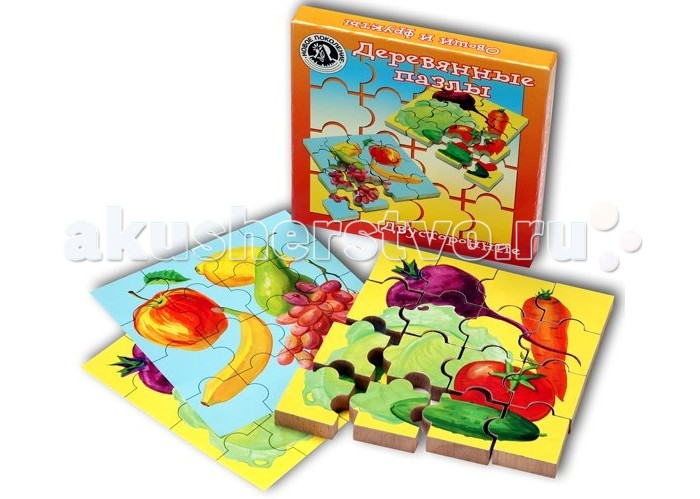 Деревянная игрушка Новое поколение Деревянные пазлы Овощи и фрукты