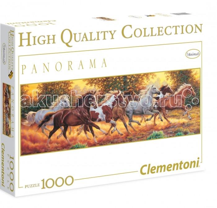 Clementoni Пазл Панорама - Бегущие лошади (1000 элементов)Пазл Панорама - Бегущие лошади (1000 элементов)Пазл - великолепная игра для семейного досуга. Сегодня собирание пазлов стало особенно популярным, главным образом, благодаря своей многообразной тематике, способной удовлетворить самый взыскательный вкус. А для детей это не только интересно, но и полезно. Собирание пазла развивает мелкую моторику у ребенка, тренирует наблюдательность, логическое мышление, знакомит с окружающим миром, с цветом и разнообразными формами.<br>