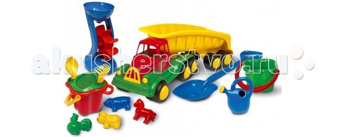 Hemar Самосвал Maxi с песочным набором 12 шт.Самосвал Maxi с песочным набором 12 шт.Самосвал Maxi с вместительным кузовом, в котором можно перевозить входящий в комплект песочный набор или другие любимые игрушки.  Яркий и вместительный, он обязательно привлечет внимание ребенка.  С этой машиной можно играть как дома, так и на улице, в песочнице или на берегу водоема, развивая координацию движений, внимательность, усидчивость и мелкую моторику рук.   Изготовлен из экологически чистой и нетоксичной цветной пластмассы.<br>