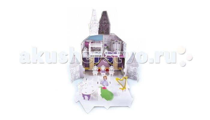 IMC toys Создай замок SofiaСоздай замок SofiaНабор для творчества IMC toys Создай замок Sofia  Замок Софии Прекрасной, героини мультсериала студии Disney, хорош, но как-то... бледноват. Время вернуть ему краски!   В набор входит несколько листов плотного белого картона, из которых собирается замок, белая мебель для замка, и двухмерная фигурка самой принцессы (цветная), а также комплект из 6 восковых карандашей.   При помощи карандашей раскрась замок, чтобы он стал таким же ярким как в мульфильме или даже ярче! Не ограничивай свое воображение, все будет того цвета, который выберешь ты!  В наборе имеется замок, мебель, фигурка Софии, красочные наклейки для декора и 6 цветных карандашей.  Высота замка: 39 см.<br>