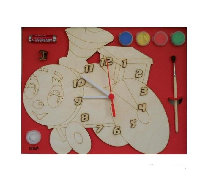 Бэмби Часы c циферблатом под роспись Паровозик ДНИ 114Часы c циферблатом под роспись Паровозик ДНИ 114Часы c циферблатом под роспись Паровозик - набор для творчества, с помощью которого можно сделать деревянные стильные часы. На циферблат в форме паровозика нанесены контуры рисунка и цифр. Его нужно разукрасить, установив по окончании росписи циферблат со стрелками. Результат - функциональные часы своими руками. Вы можете повесить их на стену и узнавать по ним время. А можете раскрасить и подарить их Вашим родителям и друзьям Ведь самый дорогой подарок тот, который сделан своими руками!  Часы под роспись Паровозик станут увлекательным занятием для вашего малыша, в процессе которого он сможет проявить все свои фантазии и раскрыть творческие способности.  Состав набора:  циферблат с часовым механизмом и стрелками акриловая краска 6 баночек по 50 мл. кисточка  клей ПВА  акрилатная проникающая грунтовка  подвес для часов  батарейка<br>