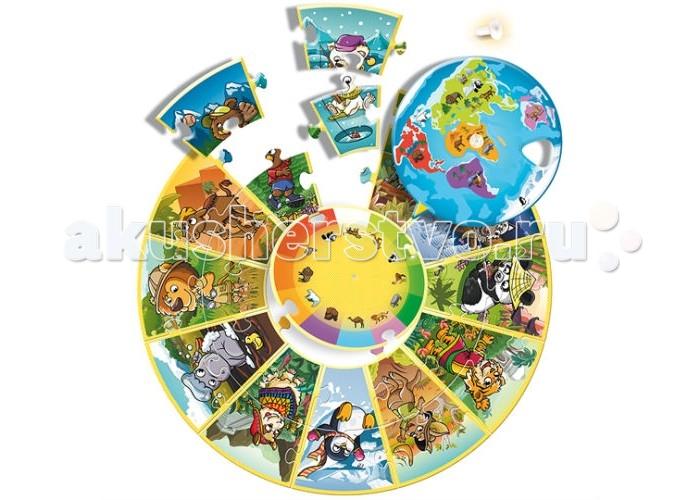 Trefl Пазл круглый - Планета 24 элементаПазл круглый - Планета 24 элементаTrefl Пазл круглый - Планета 24 элемента  Пазл Планета от польского бренда Trefl станет прекрасным подарком для любого малыша. Играя с пазлом малыш сможет узнать больше о различных странах мира, а также развить мелкую моторику ручек, воображение и логическое мышление. Необычный круглый состоит из 24 деталей, а собранный пазл представляет собой круглую картинку со множеством красочных и ярких картинок. Все детали изготовлены из нетоксичных высококачественных материалов и не содержат вредных красителей.  Возраст: от 3 лет Количество деталей: 24<br>