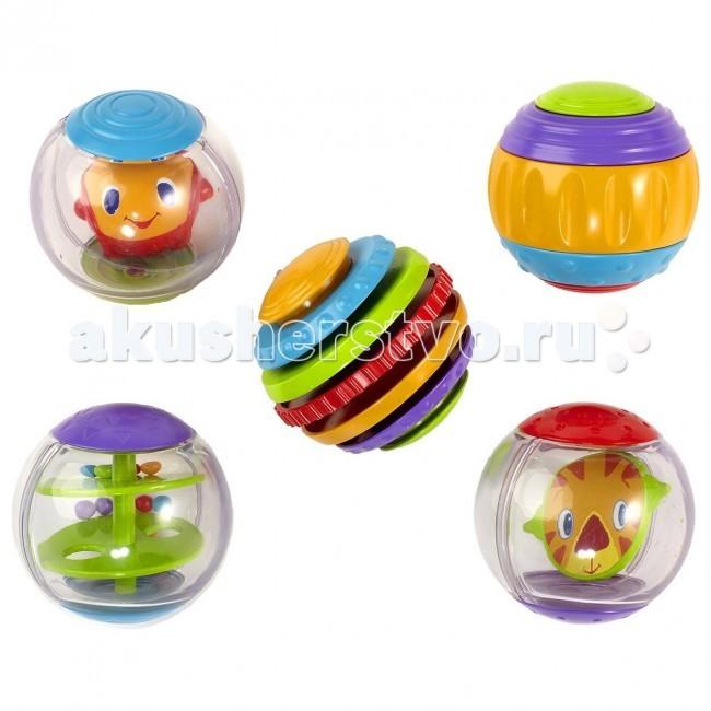 Развивающая игрушка Bright Starts Забавные шарикиЗабавные шарикиРазвивающая игрушка Bright Stars Забавные шарики  - это набор из 5 шариков, каждый из которых поможет развитию навыков малыша. Два шарика имеют разноцветные диски с различной текстурой, внутри еще одного перекатывается большая божья коровка, в четвертом крутятся лица, в пятом перекатываются мелкие шарики.  Шарики издают разные звуки и могут служить забавными погремушками.  Крути, верти, катай и вращай эти забавные шарики! Размеры коробки: 19 х 19 х 7 см Диаметр шариков 6 см<br>