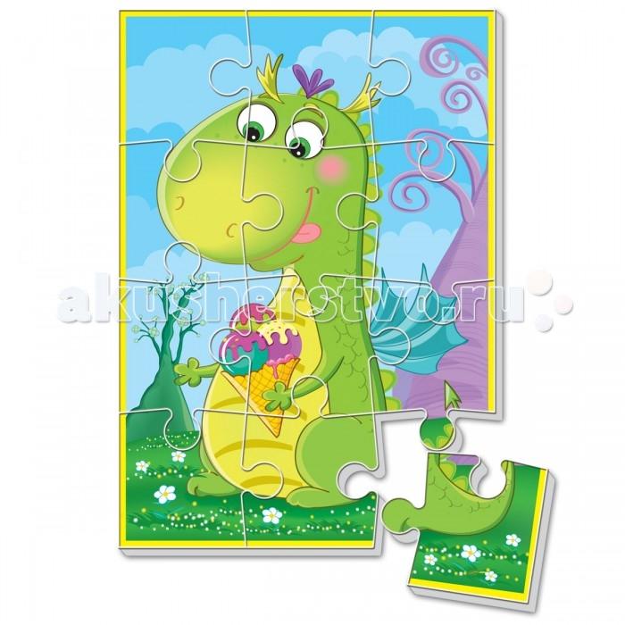 Vladi toys Мягкие пазлы А5 Диномир. Зеленый динозаврМягкие пазлы А5 Диномир. Зеленый динозаврПазл разделен на 12 элементов, основа которых сделана из прочного вспененного материала. Благодаря материалу, он приобретают дополнительную толщину, их приятно и удобно брать в ручку.  Детали легко соединяются и прочно прилегают друг к другу, и после сборки, картинка не рассыпается.  Игры с пазлами направлены на развитие мелкой моторики, учат малыша сравнивать, формируют представление о том, что такое «часть» и «целое».<br>