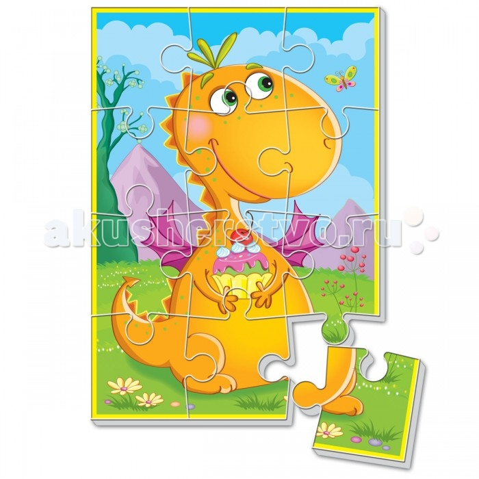 Vladi toys Мягкие пазлы А5 Диномир. Оранжевый динозаврМягкие пазлы А5 Диномир. Оранжевый динозаврПазл разделен на 12 элементов, основа которых сделана из прочного вспененного материала. Благодаря материалу, он приобретают дополнительную толщину, их приятно и удобно брать в ручку.  Детали легко соединяются и прочно прилегают друг к другу, и после сборки, картинка не рассыпается.  Игры с пазлами направлены на развитие мелкой моторики, учат малыша сравнивать, формируют представление о том, что такое «часть» и «целое».<br>