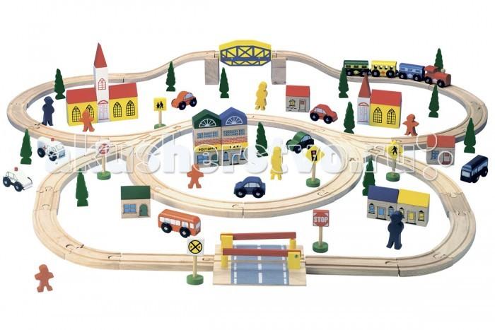 Bino Железная дорога 82201Железная дорога 82201Bino Железная дорога 82201 станет любимой игрушкой Вашего малыша! Можно играть самому, с друзьями или с мамой и папой.   В набор входит целый город: машины, дома, люди, дорожные знаки, деревья, поезд с вагонами, а главное саму трассу по которой ездит транспорт, можно выстраивать разными формами.   Состоит из 100 предметов.<br>