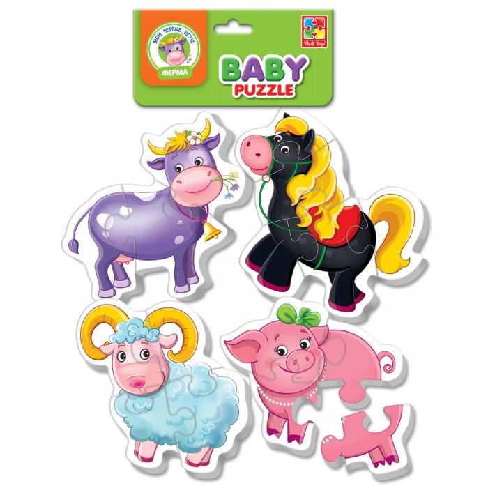 Vladi toys Мягкие пазлы Baby puzzle ФермаМягкие пазлы Baby puzzle ФермаЛюбимые животные  теперь на пазлах!  В наборе четыре пазла с животными. Крупные, объемные, мягкие детали ребенок с удовольствием соберет в целую картинку.  Детали плотно прилегают друг к другу и картинка не рассыпается.  Каждый пазл состоит из трех-четырех частей, поэтому ребенку будет легко с ним справиться.<br>