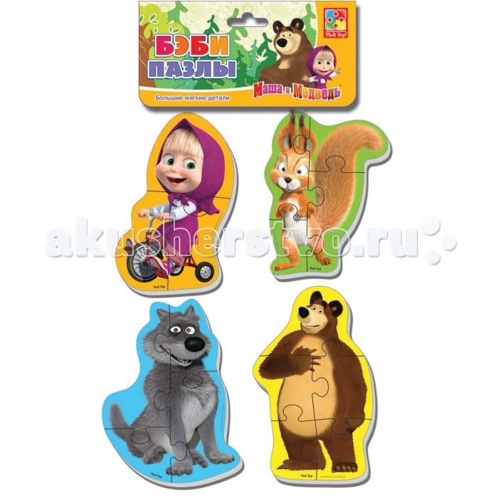 Vladi toys Мягкие пазлы Baby puzzle Маша и Медведь. Белка и волкМягкие пазлы Baby puzzle Маша и Медведь. Белка и волкГерои популярного мультика «Маша и Медведь» теперь на пазлах!  В наборе четыре разных героя, (Маша и Миша входят в каждый набор). Крупные, объемные, мягкие детали ребенок с удовольствием соберет в целую картинку.  Детали плотно прилегают друг к другу и картинка не рассыпается.  Каждый пазл состоит из трех-четырех частей, поэтому ребенку будет легко с ним справиться.<br>