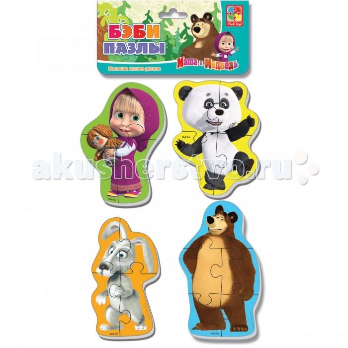 Vladi toys Мягкие пазлы Baby puzzle Маша и Медведь. Панда и заяцМягкие пазлы Baby puzzle Маша и Медведь. Панда и заяцГерои популярного мультика «Маша и Медведь» теперь на пазлах!  В наборе четыре разных героя, (Маша и Миша входят в каждый набор). Крупные, объемные, мягкие деталиребенок с удовольствием соберет в целую картинку.  Детали плотно прилегают друг к другу и картинка не рассыпается.  Каждый пазл состоит из трех-четырех частей, поэтому ребенку будет легко с ним справиться.<br>