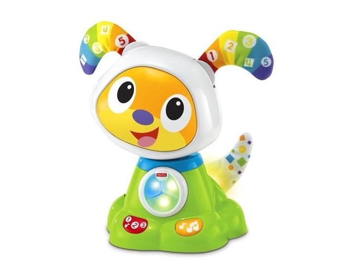 Интерактивная игрушка Fisher Price Mattel Танцующий щенок робота БибоMattel Танцующий щенок робота БибоУчись и играй вместе со своим новым лучшим другом! Обучение счету, цветам и противоположностям превращается в веселую игру! Побуждает малыша танцевать и играть.   25 обучающих мелодий, песенок и фраз. Забавно покачивает головой в такт музыки.  Животик, загорающийся разными цветами.  Шевелит мягкими ушками под ритм.  Виляет светящимся хвостиком.  Малышу легко нажимать на большие кнопки. Развивает общую моторику, слуховое восприятие, любознательность.  Размер: 15 х 13 х 22 см.<br>