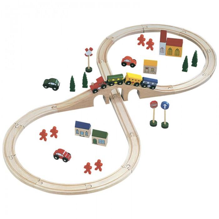 Bino Железная дорога 82242Железная дорога 82242Bino Железная дорога 82242 станет любимой игрушкой Вашего малыша!  Дорога собирается легко и в любых вариациях, по ней смогут ездить и поезда, и машинки, а вокруг нее можно будет выстроить целый город - с домами и людьми.  Набор Деревянная железная дорога состоит из 46 элементов из экологически чистой грубой древесины, покрашенной по особой технологии нетоксичными красками. Все детали гладкие, красочные и очень приятные на ощупь.<br>
