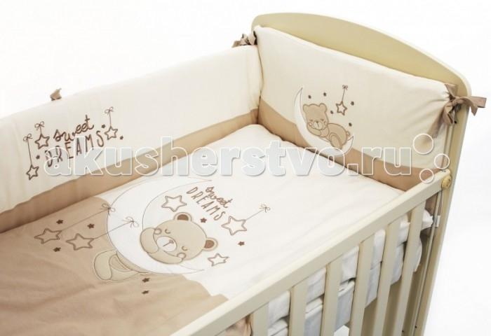 Комплект для кроватки Fiorellino Dreams (5 предметов)Dreams (5 предметов)Комплект для кроватки Fiorellino Dreams (5 предметов)   Особенности: натуральный хлопок;  искусный декор;  нежные гипоаллергенные ткани не будут раздражать даже самую чувствительную детскую кожу;  мягкие бортики для кровати подарят малышу ещё больше уюта;  удобные ленты-завязочки;  одеяло и бортики: современный и практичный наполнитель полиэстер;  съёмные чехлы бортиков;  можно стирать при температуре 30°С в бережном режиме.   В комплекте: одеяло 100х130 см;  пододеяльник 100х130 см;  простынь на резинке 60х120 см;  наволочка 40х60 см;  бампер по периметру кроватки.<br>