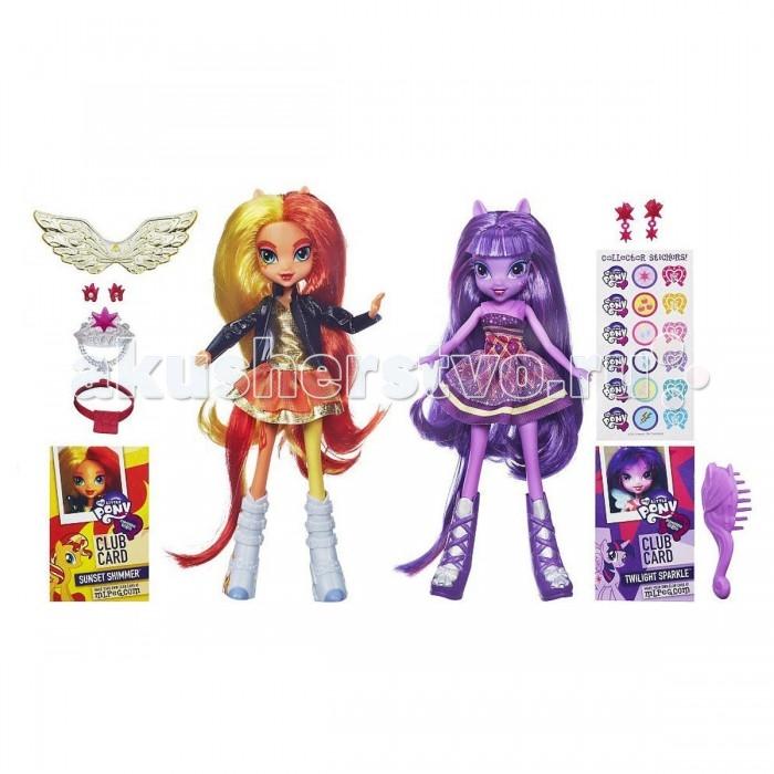 My Little Pony Equestria Girls 2 куклы в набореEquestria Girls 2 куклы в набореMy Little Pony Equestria Girls 2 куклы в наборе станет замечательным подарком поклонницам сериала Дружба – это чудо.   В этом наборе вы найдете две куклы: главную героиню мультфильма Твайлайт Спаркл и ее антагонистку Сансет Шиммер, которая в ходе мультфильма узнает, что такое дружба и становится доброй пони.   У кукол длинные красивые волосы, чтоб позволяет делать им различные прически. Одеты героини в яркую и стильную одежду.  В наборе: две расчески, клубная карта каждой куклы, две пары сережек, корона, крылья, колье и наклейки My little pony.<br>