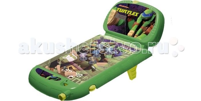 IMC toys Пинбол Черепашки НиндзяПинбол Черепашки НиндзяПинбол IMC toys Черепашки Ниндзя – одна из популярных, веселых и очень динамичных настольных игр.   Игра оформлена в стиле известного и любимого многими детьми комикса.   Пинбол Черепашки Ниндзя имеет простые правила. Игра заключается в том, чтобы не дать шарику, запущенному в начале игры, скатиться вниз. Игрок использует два рычажка, которыми необходимо отбивать шарик. Участник игры получает количество очков в зависимости от высоты шарика и частоты задевания различных препятствий. С помощью электронного табло игроки всегда будут в курсе, сколько очков они набрали.   Пинбол работает от батареек, а не от сети, поэтому играть можно в любом месте в комнате или можно взять игру с собой к друзьям.  Игра имеет световые и звуковые эффекты.<br>