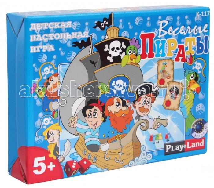 Play Land Настольная игра Веселые пиратыНастольная игра Веселые пиратыНастольная игра Веселые пираты имеет несложные правила, благодаря чему в нее смогут играть маленькие дети, но и взрослым тоже будет весело поискать сокровища. Цель игроков-собрать как можно больше жетонов - Сундук с золотом.  В комплекте: игровое поле, 18 жетонов, 4 игровые фигуры, один кубик, правила к игре.  Правила игры:  Жетоны раскладываются вне игрового поля лицом. Каждый игрок выбирает одну игровую фигурку и ставит ее на позицию Старт на игровом поле. Право первого хода предоставляется младшему игроку, далее продолжают игроки по часовой стрелке.  Один круг-один шаг. В свой ход игрок бросает кубик и передвигает свою фигурку на столько шагов, сколько выпало на кубике, по направлению ходов, связанных между собой пунктиром.  При остановке на ходе с картинкой Сундук с золотом, игрок забирает один жетон и оставляет этот жетон у себя.  При остановке на ходе с картинкой Пирата, игрок теряет (если у него имеется) один жетон, т.е. возвращает обратно один жетон.  Игра продолжается 30 минут. После этого игра останавливается, и игроки пересчитывают количество собранных жетонов. Игрок, собравший больше жетонов становится победителем.  Состав игры: 1 игровое поле 320 х 320 мм, 4 игровые фигуры, 1 игровой кубик, 18 жетонов.<br>