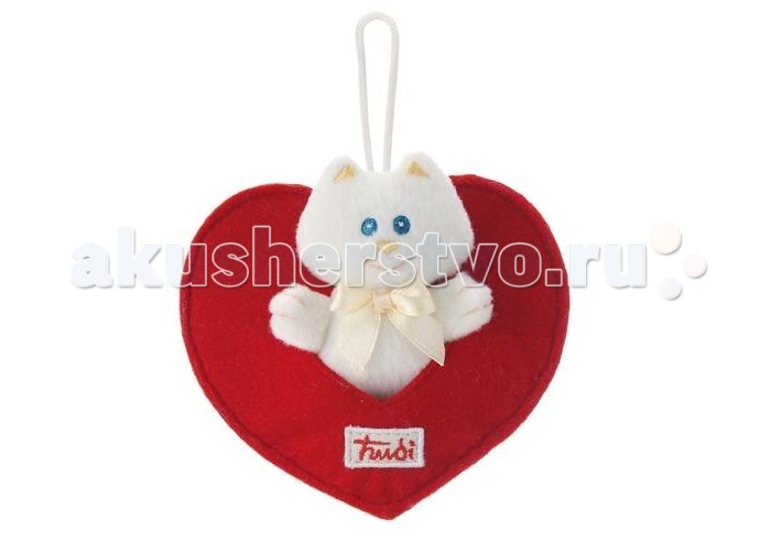 Мягкая игрушка Trudi Мягкая игрушка Кошечка в сердечке белая 9 см