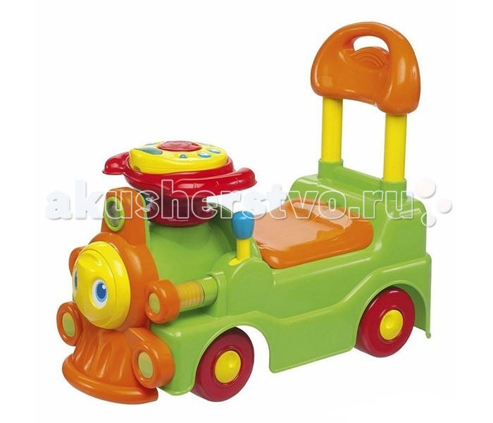 Каталка Chicco Музыкальный паровозикМузыкальный паровозикИгрушка-каталка музыкальная Паровозик можно использовать двумя различными способами:  когда малыш учится ходить, он может держаться за спинку игрушки, опираясь на неё, а позже - может кататься на паровозе самостоятельно, отталкиваясь ножками.   Электронная панель на паровозе поможет ребенку весело провести время. Под сиденьем расположен удобный багажник для мелочей. Игрушка развивает моторику и координацию движений.<br>