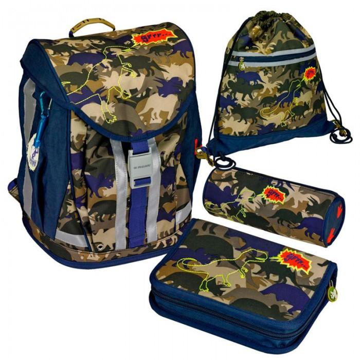 Spiegelburg Школьный рюкзак T-Rex Flex Style с наполнением 11869Школьный рюкзак T-Rex Flex Style с наполнением 11869Ортопедический школьный рюкзак с наполнением  T-Rex Flex Style предназначен для учеников начальной школы 1 - 4 класс. Внутренние отделения с несколькими карманами, удобная крышка с надежным замком, принадлежности для учебы  выполненные в едином стиле с ранцем, устойчивое пластиковое дно, ручка для переноски за которую рюкзак можно повесить на крючок, ортопедическая спинка и регулируемые лямки - удобство и комфорт школьных принадлежностей от Spiegelburg. Очень лёгкий, вместительный, устойчивый, из прочной водостойкой ткани. На внешней стороне  размещены светоотражающие элементы!  Немецкие ранцы и рюкзаки с ортопедической спинкой Spiegelburg соответствуют требованиям и стандартам TUV Rheinland, DIN.  В комплекте:   Пенал с наполнением Lyra Osiris; Пенал без наполнения; Мешок для обуви; Брелок; Дорожная книга для детей; Расписание занятий;  Прозрачный силиконовый чехол для пропуска на карабине.  Основные характеристики:  Размер: 38 x 37 x 23 см Объем: 18 л Вес: 2,060 г<br>