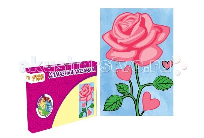 Color Puppy Алмазная мозаика РозаАлмазная мозаика РозаАлмазная мозаика Роза. Алмазная вышивка или алмазная мозаика, как вид рукоделия, появился сравнительно недавно, но очень быстро своей красотой и увлекательным процессом смог завоевать большое количество женских сердец.  Маленькие разноцветные стразики, которые приклеиваются каждый на своё место по схеме, выглядят ярко, эффектно и очень необычно, переливаясь всеми цветами радуги, они придают созданной алмазной картине поистине дорогой, роскошный и современный вид. Поскольку готовые работы выглядят, словно настоящие картины алмазная мозаика замечательно украшает интерьер дома и офиса.  Алмазное рукоделие уже завоевало симпатию многих мастериц, оставляя у всех исключительно положительные впечатления и отзывы, попробуйте и вы новое увлекательное хобби для создания потрясающий картин.  В наборе: Картонная основа 10х15 см, подставка, стразы, емкость для страз, карандаш<br>