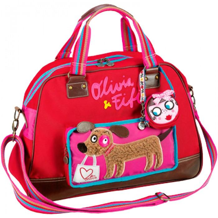 Spiegelburg Сумка Olivia &amp; Fifi 93938Сумка Olivia &amp; Fifi 93938Оригинальная сумка Olivia & Fifi ярко-красного цвета, украшенная разными красивыми элементами: набивной вышивкой, аппликацией, полосатыми ручками и ремешком. Внутреннее отделение имеет два отсека, внешний карман на молнии с изображением Фифи для мелочей. В комплект входит съемный маленький кошелек.  Основные характеристики:   Размер: 48 х 34 х 17 см<br>