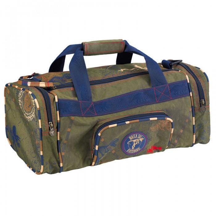 Spiegelburg Спортивная сумка T-Rex 30311Спортивная сумка T-Rex 30311Спортивная сумка T-REX выполнена из прочного нейлона цвета хаки. Имеет два боковых три внешних отсека и один основной, ручки для переноски и ремень на плечо.  Особенности:   Размер: 43 x 18 x 20 см<br>