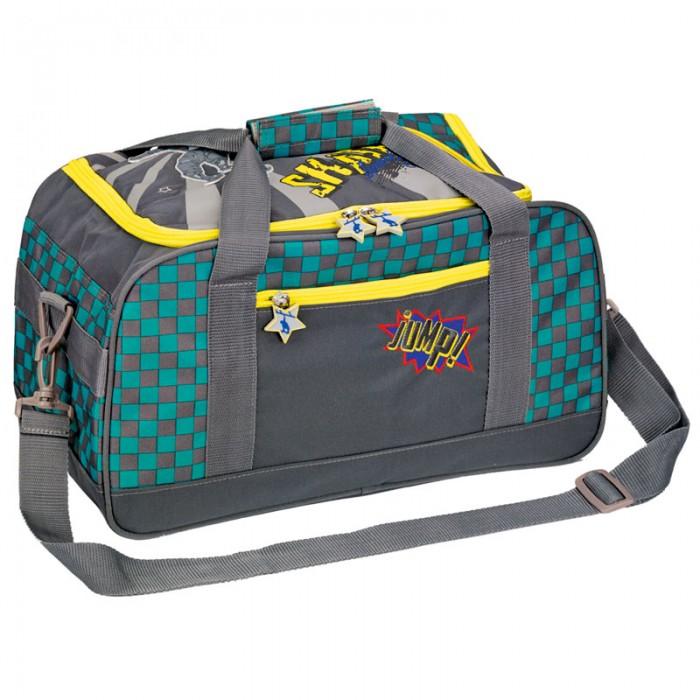 Spiegelburg Спортивная сумка Skateboarding 11857Спортивная сумка Skateboarding 11857Спортивная сумка окрашена в серый, желтый и голубой цвет. Она украшена надписями и рисунками. На ее передней части есть карман, в котором можно хранить небольшие вещи. Основной отдел имеет два отсека - один для обуви, другой для одежды. В сумку также можно сложить бутылку с водой и другие вещи. Сверху есть две удобные ручки, которые можно соединить липучкой.  Длину наплечного ремня можно поменять в зависимости от роста мальчика. При желании ремень можно отсоединить.  Основные характеристики:   Размер: 35 x 25 x 20 см<br>