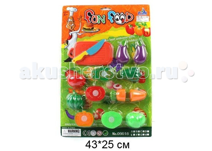 Shantou Gepai Набор для резки Веселый обедНабор для резки Веселый обедНабор для резки весёлый обед. Все продукты из набора состоят из двух частей, соединенных между собой липучками. Задача ребенка - разделить игрушечные продукты на части с помощью специального ножа. Пластиковый нож и разделочная доска в комплекте.  Этот набор прекрасно подходит для сюжетно-ролевой игры и способствует развитию моторики рук.  Комплектность: фрукты и овощи, доска, ножик.<br>
