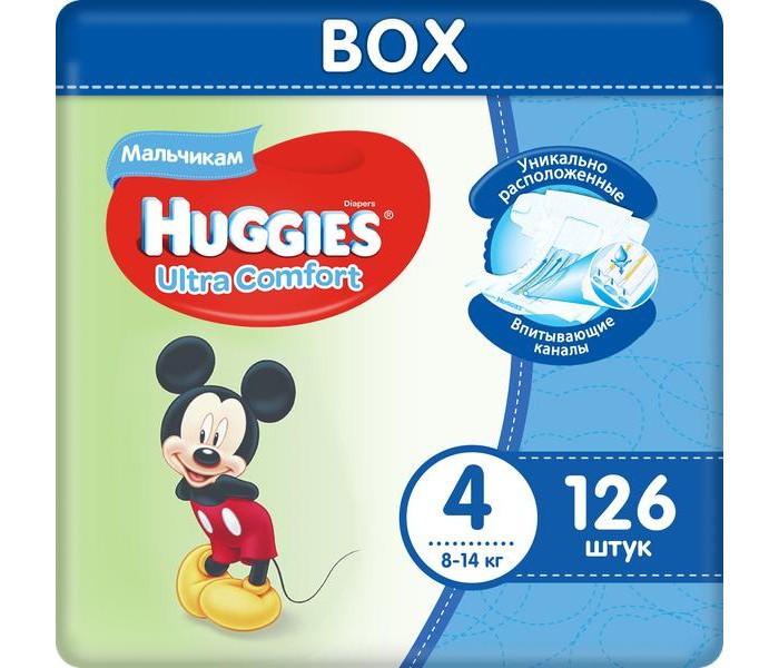 Huggies Подгузники Ultra Comfort Disney Box для мальчиков 4 (8-14 кг) 126 шт.Подгузники Ultra Comfort Disney Box для мальчиков 4 (8-14 кг) 126 шт.Вес ребенка: 8-14 кг Кол-во в упаковке: 126 шт.  Подгузник №1 по Комфорту Подгузники Huggies® Ultra Comfort созданы специально для мальчиков и для девочек – чтобы им было удобно и комфортно в любой ситуации.  Преимущества: Уникально расположенные впитывающие каналы. Быстро распределяют жидкость для уменьшения набухания и провисания подгузника там, где необходимо мальчикам – ближе к животику. Уникальный впитывающий слой. Быстро впитывает и расположен там, где необходимо мальчикам. Яркие герои Disney. Два замечательных дизайна Disney© в каждой упаковке, где от размера к размеру Baby-Miсkey растет вместе с малышом. Анатомическая форма подгузника между ножками. Для лучшего ощущения комфорта. Эластичный поясок и эластичные застёжки для комфортного прилегания.<br>