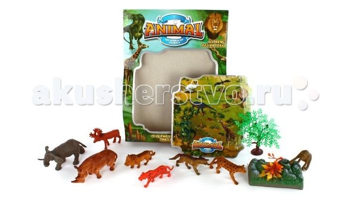 Shantou Gepai Набор животных Саванна 9638-8Набор животных Саванна 9638-8Набор животных Саванна.Реалистично выполненные фигурки животных познакомят ребенка с удивительным миром природы. Теперь есть возможность создать свою собственную маленькую Саванну! Фигурки реалистичны. Играя с небольшими фигурками, ребенок развивает мелкую моторику рук, сенсорное восприятие, знакомится с различными формами и цветами. Игрушки прекрасно подойдут для сюжетно-ролевых игр.  Комплектность: деревья - 2 шт., подставка под деревья, слон, тигр, лось, носорог, горилла, койот, лев, леопард.<br>