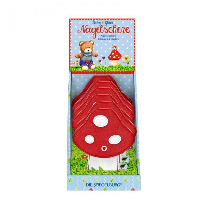 Spiegelburg Ножницы Baby Gluck 11250Ножницы Baby Gluck 11250Ножницы Baby Gluck важный предмет для ухода за ребенком. Выполнены из нержавеющей стали, с закругленными кончиками и защитным колпачком. Упакованы в красивый чехол в виде мухомора.  Основные характеристики:   Размер: 10 х 13 см<br>