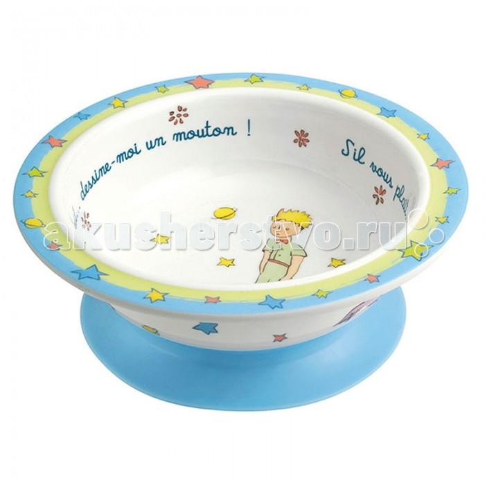 Petit Jour Тарелка глубокая на присоске Petit PrinceТарелка глубокая на присоске Petit PrincePetit Jour Тарелка глубокая на присоске Petit Prince нежной расцветки. Благодаря присоске удобно крепится на столик и предотвращает проливания пищи.   Подходит для мытья в посудомоечной машине и не подходит для горячей еды и микроволновой печи.  Размер: 16х5.5 см<br>