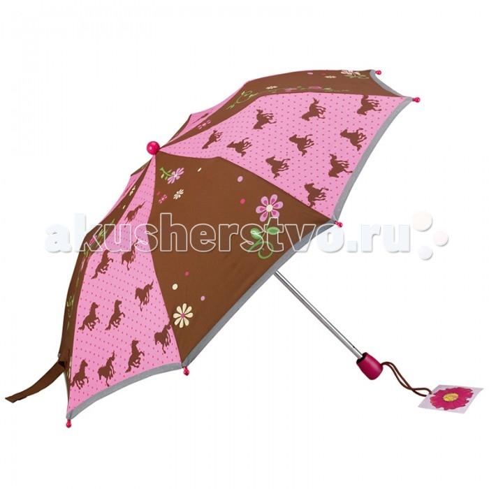 Детский зонтик Spiegelburg Зонт Pferdefreunde 20725Зонт Pferdefreunde 20725Складной зонт с лошадками  Prefdefreunde станет самым любимым аксессуаром в дождливую погоду для маленькой леди. По периметру он оснащен светоотражающей лентой для безопасного передвижения ребенка на улицах города.  Основные характеристики:   Размер: &#216;80 см<br>