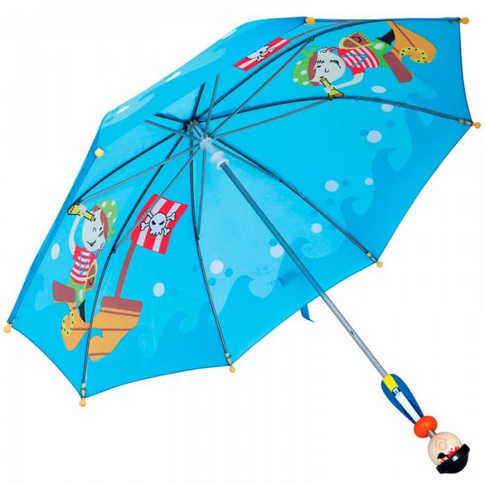 Детский зонтик Spiegelburg Зонт Пират 82792Зонт Пират 82792Забавный яркий зонт в пиратской тематике подойдет для мальчика. Зонт защитит от дождя в ненастную погоду и вдохновит на веселую игру. Ручка зонтика выполнена из дерева, представляет собой фигурку пирата.  Основные характеристики:   Размер: 65 х 65 х 66 см<br>