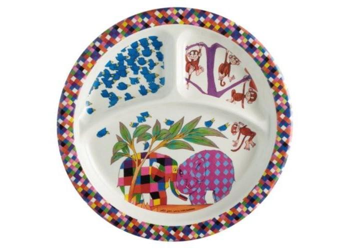 Petit Jour Тарелка с секциями Elmer 3 секцииТарелка с секциями Elmer 3 секцииPetit Jour Тарелка с секциями Elmer со специальными разделителями для порций, не дает смешиваться еде.   На поверхность тарелки нанесены веселые и красочные изображения героев из популярных мультфильмов.   Подходит для мытья в посудомоечной машине и не подходит для горячей еды и микроволновой печи.  Размер: 21 см<br>
