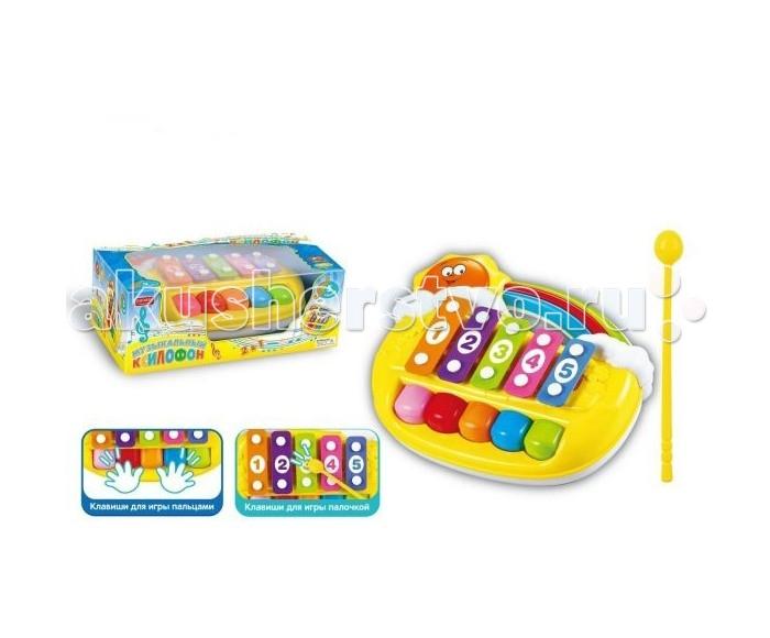 Музыкальная игрушка Shantou Gepai Ксилофон с клавишами Умный Я 5 тоновКсилофон с клавишами Умный Я 5 тоновShantou Gepai Музыкальный ксилофон с клавишами Умный Я 5 тонов  Данный детский ксилофон имеет 5 разноцветных клавиш и 5 пластин. Ребенок сможет играть на игрушечном музыкальном инструменте двумя способами: своими пальчиками и с помощью входящей в комплект палочки, ударяя по пронумерованным пластинам. Пластмассовая игрушка украшена радугой и улыбающимся солнышком, которое выглядывает из-за облачка.   Возраст: от 3 лет Комплект: ксилофон, палочка<br>