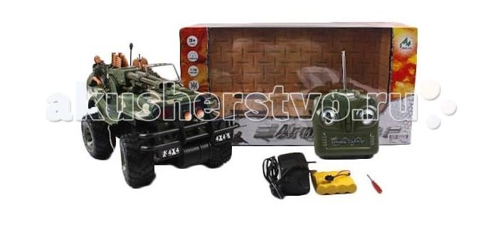 Shantou Gepai Машина на радиоуправлении Военный джип 3007Машина на радиоуправлении Военный джип 3007Shantou Gepai Машина на радиоуправлении Военный джип 3007  Данная радиоуправляемая модель Военного джипа будет интересна мальчикам, интересующимся техникой. Внедорожник имеет открытый тип кузова, высокую подвеску, маскировочный окрас и отличительные знаки армии США. В джипе находятся водитель и стрелок, с левой стороны от водителя установлен крупнокалиберный пулемет, а на заднем сиденье лежат боеприпасы.  Возраст: от 3 лет Комплект: машина, пульт управления, аккумулятор, зарядное устройство, отвертка. Наличие батареек: не входят в комплект Питание игрушки: аккумулятор Питание пульта: батарейки<br>