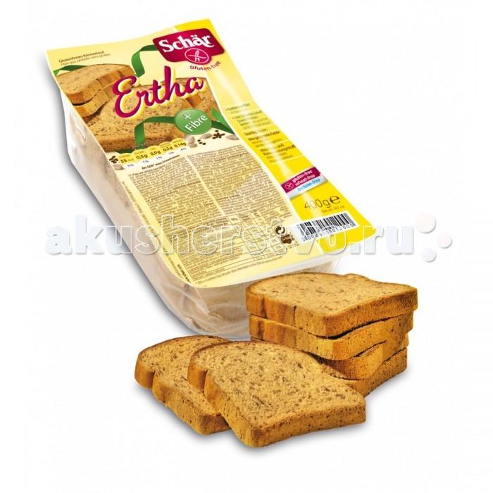 Schar Хлеб темный Ertha без глютена 400 гХлеб темный Ertha без глютена 400 гХлеб темный Sch&#228;r Ertha без глютена - для любителей здорового образа жизни. Хлеб рекомендуется для профилактики и лечения пищевой аллергии, а также для больных целиакией (непереносимость растительного белка глютена, который содержится в злаковых растениях, таких как пшеница, рожь, овес, ячмень). Хлеб темный Sch&#228;r Ertha не содержит глютена, пшеничного крахмала, лактозы, молока, яиц и консервантов. Идеален для тех, кто контролирует свой вес.  Состав: закваска 27% (рисовая мука, вода), вода, кукурузный крахмал, картофельныйкрахмал, семя подсолнечника 4,1% семя льна, 3,4% яблочный экстракт, растительные волокна (яблоко), рисовая мука, соевый белок, соевые отруби, рисовые отруби, дрожжи, сироп сахарной свеклы, негидрогенезированный пальмовый жир, загуститель: гидроксипропилметилцеллюлоза, соль, подкислители: тартаровая кислота и лимонная кислота.  Не содержит глютена, пшеничного крахмала, лактозы.   Высокое содержание волокон.   При производстве используется экологически чистое сырьё.   Без ГМО.   Не содержит куриное яйцо и молоко.   С небольшим содержанием сиропа сахарной свеклы.   Энергетическая ценность на 100 г: 192 кКал.   Пищевая ценность на 100 г: углеводы - 33.0 г (из которых сахара - 1.8 г), белки - 4.4 г, жиры - 3.2 г (из которых насыщенные - 0.8 г), диетические волокна -11.6 г, натрий - 0.5 г.  Итальянская компания Sch&#228;r - лидер европейского рынка по выпуску безглютеновых продуктов. Благодаря интенсивным научным исследованиям весь ассортимент имеет высокий уровень качества и разнообразен. Главная задача компании Sch&#228;r состоит в непрерывном развитии производства безглютеновых продуктов для повседневного питания больных целиакией. Свою компетентность фирма укрепляет путем сотрудничества с важными научно-исследовательскими институтами и университетами, а также за счет прямого диалога с целевой группой. Продукты произведены с соблюдением строжайших технологических требо