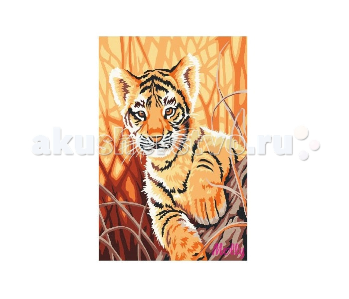 Раскраска Molly по номерам Любопытный тигрёнокпо номерам Любопытный тигрёнокMolly Раскраска по номерам Любопытный тигрёнок CX3152  Состав набора:  - холст из натурального хлопка на деревянном подрамнике (холст предварительно прогрунтован),  - акриловые краски (9 цв., устойчивые к выцветанию),  - нейлоновые кисти разного размера 3 шт.,  - акриловый лак (2 баночки),  - крепление на стену  Защитить готовую картину от воздействия ультрафиолетовых лучей и влаги поможет акриловый лак в наборе. Перед использованием его необходимо разбавить водой в соотношении 1:1. Лак следует наносить на краску в качестве финишного покрытия.  Количество цветов: 12 Уровень сложности: средний  Размер: 20х30 см.<br>