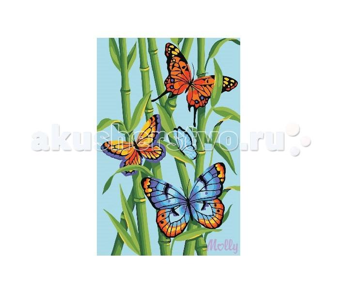 Раскраска Molly по номерам Яркие бабочкипо номерам Яркие бабочкиMolly Раскраска по номерам Яркие бабочки CX3155  Состав набора:  - холст из натурального хлопка на деревянном подрамнике (холст предварительно прогрунтован),  - акриловые краски (9 цв., устойчивые к выцветанию),  - нейлоновые кисти разного размера 3 шт.,  - акриловый лак (2 баночки),  - крепление на стену  Защитить готовую картину от воздействия ультрафиолетовых лучей и влаги поможет акриловый лак в наборе. Перед использованием его необходимо разбавить водой в соотношении 1:1. Лак следует наносить на краску в качестве финишного покрытия.  Количество цветов: 14 Уровень сложности: средний  Размер: 20х30 см.<br>
