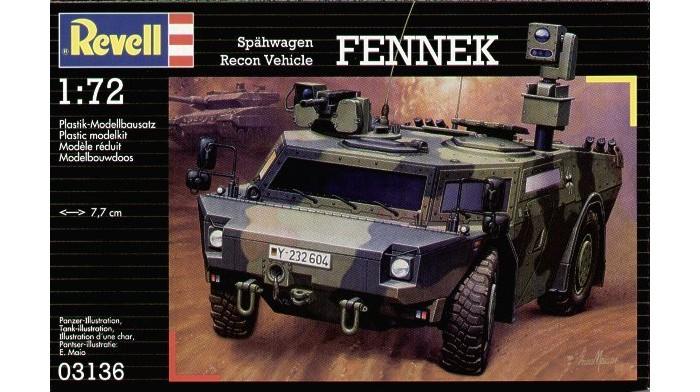 Конструктор Revell Дозорная машина FennekДозорная машина FennekСборная модель немецкой разведывательной машины Fennek. Модель выполнена из пластика и является уменьшенной копией боевой машины в масштабе 1 к 72. Для сборки и покраски вам понадобятся клей и краски.  Fennek является самой современной разведывательной машиной в своем классе. После совместного немецко-голландского тестирования первые машины были переданы армии в 2003 году. Автомобиль был разработан с целью заменить своего предшественника – разведывательную машину Luchs. Сейчас Fennek поставляется в бронетанковые подразделения ВС Германии.   Внимание!  Клей, краски и кисточки в комплект не входят. Эти аксессуары приобретаются отдельно.  Основные характеристики:   Длина модели: 77 мм  Масштаб: 1:72  Количество деталей: 90 шт.<br>