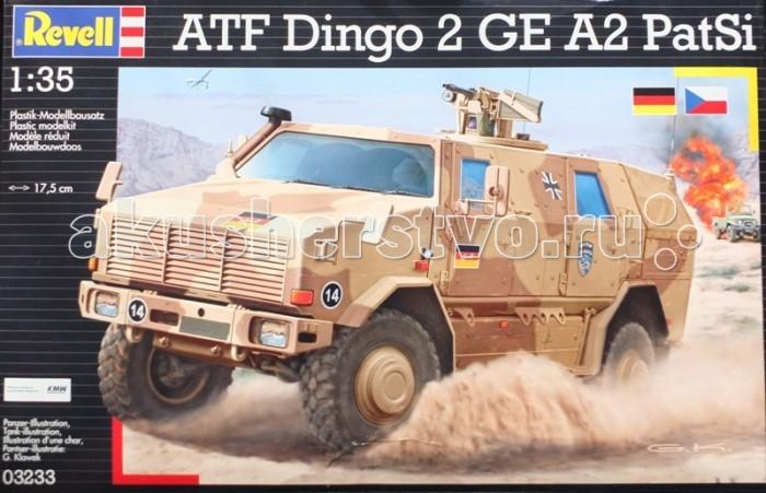 Конструктор Revell Бронеавтомобиль Dingo 2A2Бронеавтомобиль Dingo 2A2Модель современного немецкого бронеавтомобиля Dingo 2A2. Разработанный инженерами компании Krauss-Maffei Wegmann Dingo 2 был принят на вооружение Бундесвера в 2003 году. По оценке экспертов на данный момент броневик занимает лидирующие позиции по показателям защиты среди машин своего класса. Dingo 2A стоит на вооружении в армиях шести стран. Всего было выпущено около 800 экземпляров. Модификация Dingo 2A2 является патрульной версией броневика.  Внимание!  Клей и краски в комплект не входят.  Основные характеристики:   Длина модели: 174 мм Масштаб: 1:35  Количество деталей: 150 шт.<br>