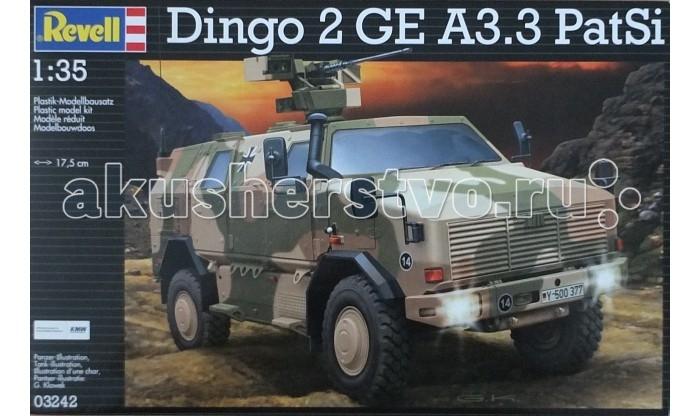 Конструктор Revell Броневик ATF Dingo 2 A3.3 PatSiБроневик ATF Dingo 2 A3.3 PatSiМодель немецкого броневика Dingo 2 GE A3.3 PatSi выполнена из пластика в масштабе 1:35. Для сборки понадобится клей и краска для покраски. Эти аксессуары приобретаются отдельно и в комплект не входят. Данная модификация Dingo 2 использовалась Бундесвером в Афганистане с 2012 года для разведки и безопасного перемещения. Броневик имеют повышенную защиту от мин. Вместимость машины – 6 человек. Модификация A3.3 PatSi оснащалась пулеметом FLW 200 и автоматическим гранатометом 40 мм. Кроме того на машину установлены более совершенные приборы ночного видения.  Внимание! Клей и краски в комплект не входят.  Основные характеристики:   Длина собранной модели: 17,5 см  Количество деталей: 238 шт.<br>