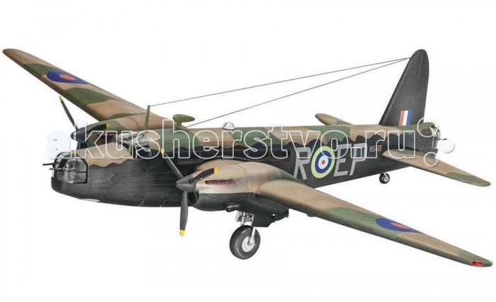 Конструктор Revell Бомбардировщик Виккерс Веллингтон Mk.IIБомбардировщик Виккерс Веллингтон Mk.IIВиккерс Веллингтон — это двухмоторный бомбардировщик, который был в составе британского вооружения. Использовался в первые два года Второй мировой войны, потом ему нашли замену в лице Авро Ланкастера. Далее Виккерс использовали в транспортных операциях. Сборная модель относится к самому сложному уровню и рассчитана на профессиональных моделистов. Самолет очень детализирован и является точной копией оригинала, выполненной в масштабе 1:72.  Внимание! Клей и краски в комплект не входят.  Основные характеристики:   Длина игрушки: 27 см Размах крыльев: 36.4 см Масштаб: 1:72 Количество деталей: 151 шт.<br>