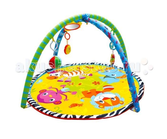 Развивающий коврик Shantou Gepai Джунгли зовут 939315Джунгли зовут 939315Развивающий коврик Shantou Gepai Джунгли зовут 939315 на котором, можно играть, в трёх положениях: на спинке, на животике или сидя.   Малышу будет интересно тянутся за развивающими игрушками, с помощью которых он будет изучать мир, а также смотреться в безопасное зеркальце и развивать пространственное воображение.   В комплект входят: 5 развивающих игрушек, 3 положения для игры.  Размер коврика: 84 см<br>