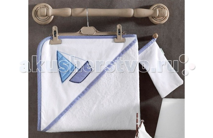 Kidboo Комплект полотенце-уголок + варежка Blue Marine