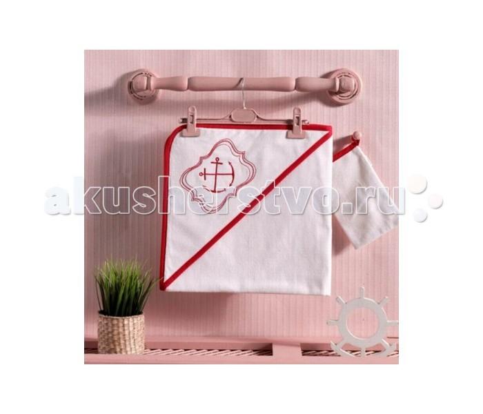Kidboo Комплект полотенце-уголок + варежка Red OceanКомплект полотенце-уголок + варежка Red OceanМахровый комплект полотенце-уголок + варежка Kidboo Red Ocean, (в коробке)   Размеры:  полотенце - 75х75 см варежка - 16х21  Материал: 100% хлопок<br>