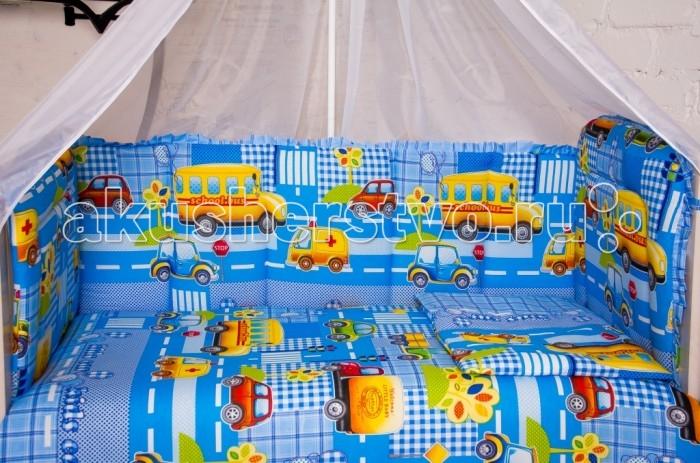 Бампер для кроватки Мой Ангелочек МашинкиМашинкиБорт в кроватку Машинки. Бампер в кроватку защитит малыша, пока он маленький. И послужит отличным украшением детской кроватки.  Состав: Борт 54х60 см - 1 ед; 40х60 см - 1 ед; 40х120 см - 2 ед   Характеристики: Ткань: бязь Люкс российского производства Состав ткани: 100%  хлопок Плотность ткани: 120-125 гр/м2 Наполнитель: термофайбер Состав наполнителя: 100% п/э Плотность наполнителя: 550 гр/м2 Декоративные элементы: на бортах рюши Упаковка: сумка - чемодан<br>
